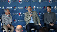 RALEIGH, NC - FEBRUARY 27: North Carolina FC team owner Steve Malik, flanked by head coach Dave Sarachan and team president Curt Johnson, talks to the media at One Glenwood on February 27, 2020 in Raleigh, North Carolina.