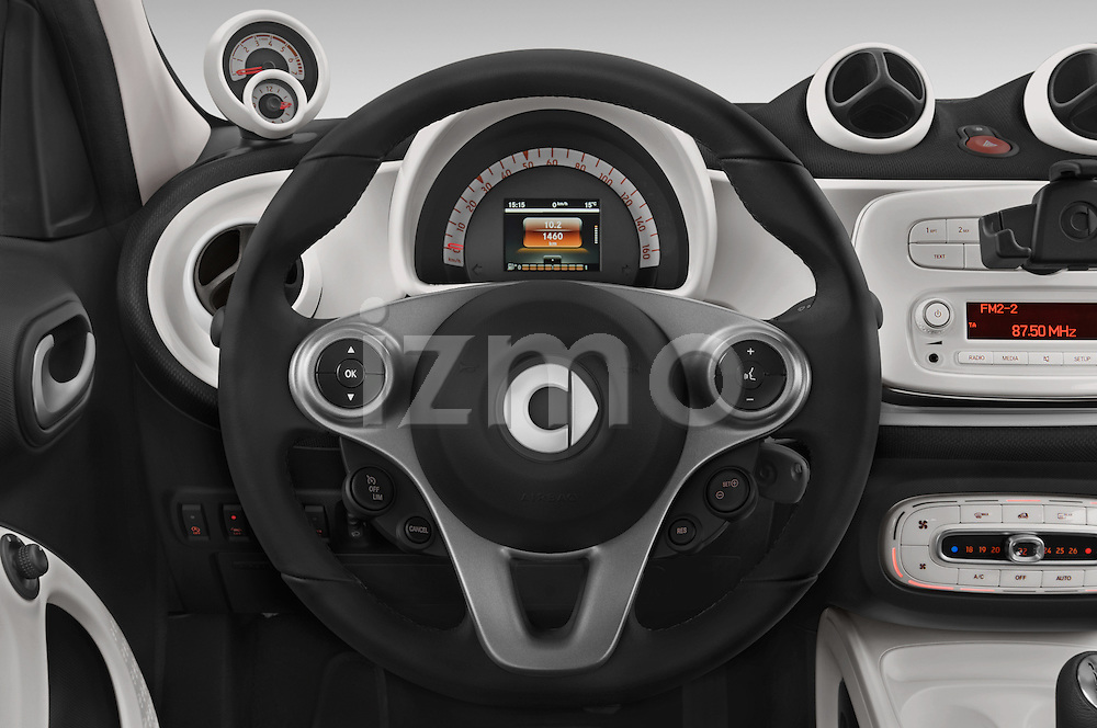 Car pictures of steering wheel view of a 2015 Smart FORFOUR Prime 5 Door Micro Car Steering Wheel
