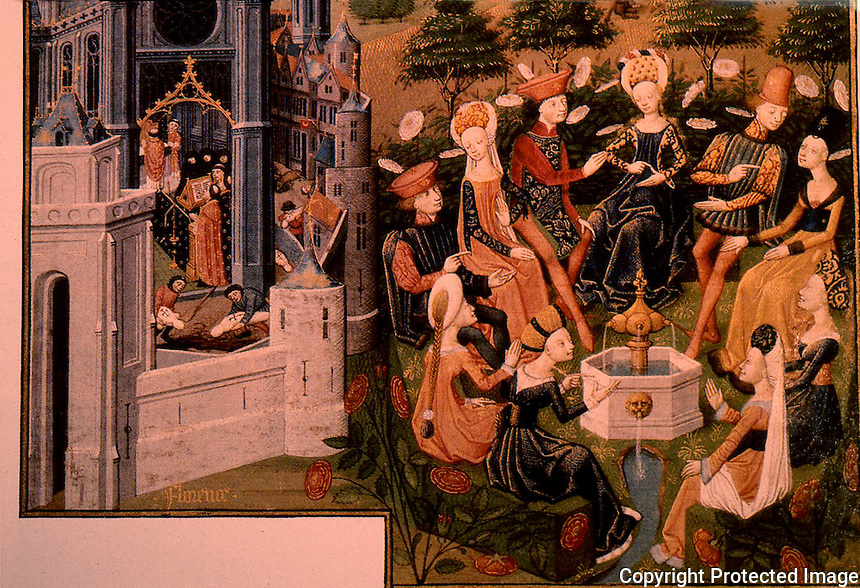 Bubonic Plague:  Illustration from Decameron, miniature. Victims being buried in Florence: left, gentle folk; right, in refuse.  Decameron is a 14th-century medieval allegory by Giovanni Boccaccio.