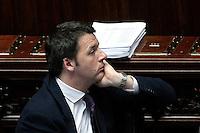 Matteo Renzi<br /> Roma 25-02-2014 Camera. Voto di fiducia al nuovo Governo.<br /> Senate. Trust vote for the new Government.<br /> Photo Samantha Zucchi Insidefoto
