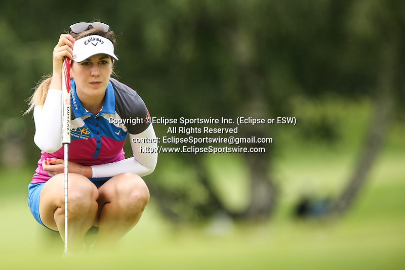 Sandra Gal reviews the 10th green at the LPGA Championship 2014 Sponsored By Wegmans at Monroe Golf Club in Pittsford, New York on August 16, 2014