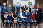 Jordan Lee with his family receiving his Kerry County Council and Municipal District Awards, pictured with members of the Killarney Municipal District at the ceremony in the Rose Hotel on Thursday night.