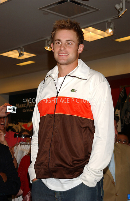 WWW.ACEPIXS.COM . . . . . ....NEW YORK, AUGUST 23, 2005....Andy Roddick and Lacoste open the world's largest Lacoste Men's Shop at Macy's Herald Square.....Please byline: KRISTIN CALLAHAN - ACE PICTURES.. . . . . . ..Ace Pictures, Inc:  ..Craig Ashby (212) 243-8787..e-mail: picturedesk@acepixs.com..web: http://www.acepixs.com