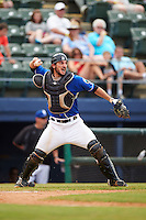 Biloxi Shuckers catcher Parker Berberet (21) throws down to second during a game against the Birmingham Barons on May 24, 2015 at Joe Davis Stadium in Huntsville, Alabama.  Birmingham defeated Biloxi 6-4 as the Shuckers are playing all games on the road, or neutral sites like their former home in Huntsville, until the teams new stadium is completed in early June.  (Mike Janes/Four Seam Images)