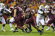 Landover, MD - September 3, 2017: Virginia Tech Hokies running back Steven Peoples (32) runs the ball during game between Virginia Tech and WVA at  FedEx Field in Landover, MD.  (Photo by Elliott Brown/Media Images International)