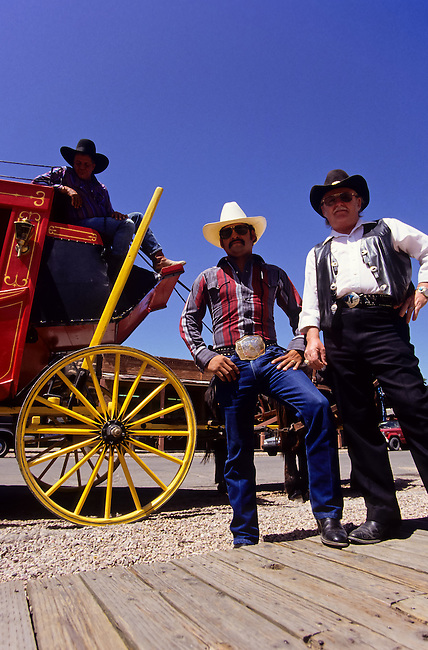 cowboys with red horse carriage in Tombstone wild west   outdoor museum in Arizona, USA