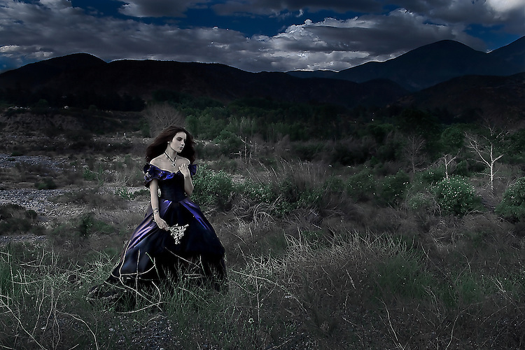 A girl wearing a flowing blue dress standing alone in a dark wilderness