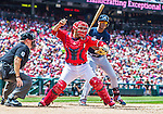 22 June 2014: Washington Nationals catcher Sandy Leon in action against the Atlanta Braves at Nationals Park in Washington, DC. The Nationals defeated the Braves 4-1 to split their 4-game series and take sole possession of first place in the NL East. Mandatory Credit: Ed Wolfstein Photo *** RAW (NEF) Image File Available ***