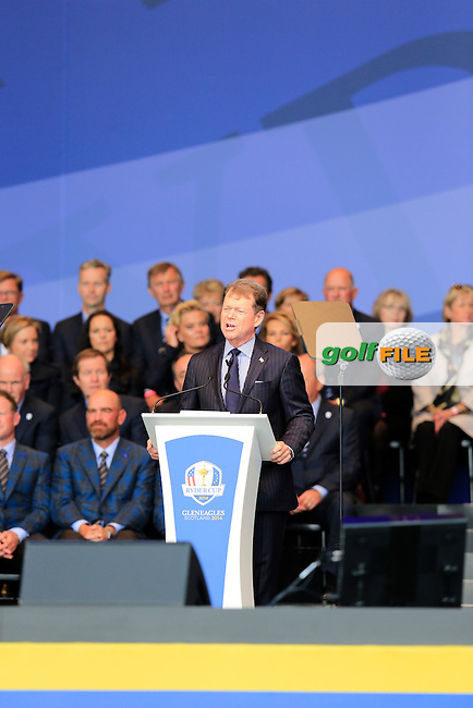 USA Captain Tom Watson during the Opening Ceremony on Thursday at the 40th Ryder Cup, The Gleneagles Hotel, Perthshire from 26th to 28th September 2014<br /> Picture Eoin Clarke, www.golffile.ie