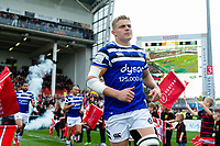 Tom Ellis and the rest of the Bath Rugby team run onto the field for the start of the match. Gallagher Premiership match, between Gloucester Rugby and Bath Rugby on April 13, 2019 at Kingsholm Stadium in Gloucester, England. Photo by: Patrick Khachfe / Onside Images