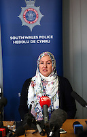"Pictured: Andrea Aburas giving a statement at Cardiff Bay Police Station. Monday 05 January 2015<br /> Re: A man has pleaded guilty of murdering a woman in a Cardiff hotel room has been found by police.<br /> Sammy Almahri from New York, went on the run following the discovery of Nadine Aburas's body at the Future Inn, Cardiff Bay, on 31 December 2014.<br /> An international search was launched to find Mr Almahri.<br /> He was arrested by Tanzanian Police.<br /> Nadine's family has issued the following statement:  ""Justice has been done for Nadine. The right verdict has been returned. We wish to thank everyone who has assisted us throughout this tragic period in our lives.<br /> ""We ask now that we are given time to grieve and remember our beautiful girl. We will give a full statement after sentence."""
