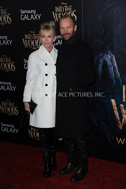 WWW.ACEPIXS.COM<br /> December 8, 2014 New York City<br /> <br /> Trudie Styler, Sting attending the World Premiere of 'Into the Woods' at the Ziegfeld Theatre on December 8, 2014 in New York City.<br /> <br /> Please byline: Kristin Callahan/AcePictures<br /> <br /> Tel: (212) 243 8787 or (646) 769 0430<br /> e-mail: info@acepixs.com<br /> web: http://www.acepixs.com