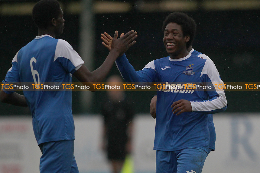Aron Gordon of Redbridge scores his second goal and celebrates during Redbridge vs Eton Manor, Essex Senior League Football at Oakside Stadium on 10th September 2016