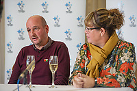 Pictured: David and Lynne Price during the press conference after they won one million pounds at Bedwellty House,Tredegar, Blaenau Gwent, Wales, UK. Tuesday 12 November 2019<br /> Re: David Price from New Tredegar is the latest winner from Wales to join the Millionaire club just a week before The National Lottery marks 25 years since its first draw. David, 53, who loves the great outdoors, will use part of his windfall to put towards a dream trip to Mount Everest Base Camp next year.
