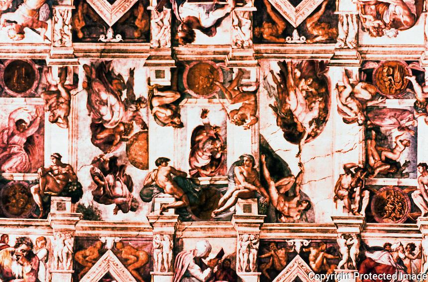 Vatican:  Sistine Chapel--1st part of the vault (ceiling). Frescoes  by Michelangelo.