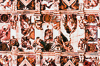 Vatican:  Sistine Chapel--1st part of the vault (ceiling). Frescoes  by Michelangelo.