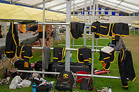 """Henley on Thames, United Kingdom, 3rd July 2018, Friday,  """"Henley Royal Regatta"""",  The University of Iowa, using the, Boat rack, as a """"hanging space for their Blazers"""", Henley Reach, River Thames, Thames Valley, England, UK."""