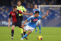 Lukas Lerager of Genoa and Hirving Lozano of Napoli compete for the ball<br /> Napoli 09-11-2019 Stadio San Paolo <br /> Football Serie A 2019/2020 <br /> SSC Napoli - Genoa CFC<br /> Photo Cesare Purini / Insidefoto