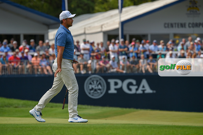 Jason Day (AUS) watches his putt on 9 during 4th round of the 100th PGA Championship at Bellerive Country Club, St. Louis, Missouri. 8/12/2018.<br /> Picture: Golffile | Ken Murray<br /> <br /> All photo usage must carry mandatory copyright credit (© Golffile | Ken Murray)