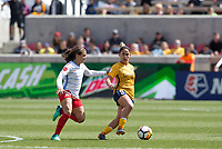 Sandy, UT - Saturday April 14, 2018: Danielle Colaprico, Lo'eau LaBonta during a regular season National Women's Soccer League (NWSL) match between the Utah Royals FC and the Chicago Red Stars at Rio Tinto Stadium.