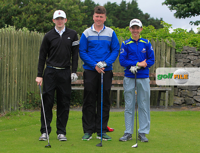Peter Clark (Royal Portrush), Conor Ruane (Galway Bay) and Conor Meade (East Clare) on the 1st tee during R2 of the 2016 Connacht U18 Boys Open, played at Galway Golf Club, Galway, Galway, Ireland. 06/07/2016. <br /> Picture: Thos Caffrey | Golffile<br /> <br /> All photos usage must carry mandatory copyright credit   (&copy; Golffile | Thos Caffrey)