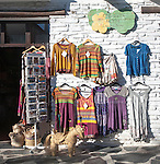 Clothes shop displaying traditional clothing, Capileira village, High Alpujarras, Sierra Nevada, Granada province, Spain