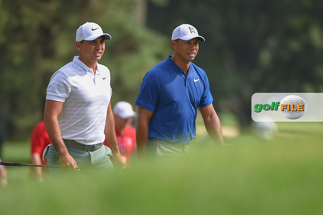 Jason Day (AUS) and Tiger Woods (USA) head down 12 during 1st round of the World Golf Championships - Bridgestone Invitational, at the Firestone Country Club, Akron, Ohio. 8/2/2018.<br /> Picture: Golffile | Ken Murray<br /> <br /> <br /> All photo usage must carry mandatory copyright credit (© Golffile | Ken Murray)