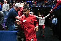 NWA Democrat-Gazette/CHARLIE KAIJO Arkansas Razorbacks guard C.J. Jones (23) and forward Darious Hall (20) run out onto the court during the Southeastern Conference Men's Basketball Tournament quarterfinals, Friday, March 9, 2018 at Scottrade Center in St. Louis, Mo.