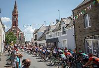 peloton rolling into town.<br /> <br /> Stage 4: La Baule &gt; Sarzeau (192km)<br /> <br /> 105th Tour de France 2018<br /> &copy;kramon