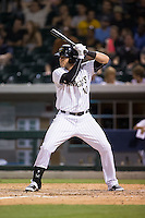 Nicky Delmonico (10) of the Charlotte Knights at bat against the Indianapolis Indians at BB&T BallPark on June 17, 2016 in Charlotte, North Carolina.  The Knights defeated the Indians 4-0.  (Brian Westerholt/Four Seam Images)