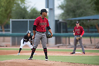 AZL Diamondbacks starting pitcher Luis Frias (13) looks in for the sign during an Arizona League game against the AZL White Sox at Camelback Ranch on July 12, 2018 in Glendale, Arizona. The AZL Diamondbacks defeated the AZL White Sox 5-1. (Zachary Lucy/Four Seam Images)