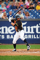 Wilmington Blue Rocks second baseman Austin Bailey (4) at bat during a game against the Lynchburg Hillcats on June 3, 2016 at Judy Johnson Field at Daniel S. Frawley Stadium in Wilmington, Delaware.  Lynchburg defeated Wilmington 16-11 in ten innings.  (Mike Janes/Four Seam Images)