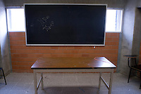 "Mexico City, Mexico. Friday, May 4, 2007. Classroom with ""I Love Vero"" scrawled on the blackboard. Santa Martha Acatitla, Mexico City's high security women's prison.  More than half the prison's population is believed to be Lesbian or Bisexual."