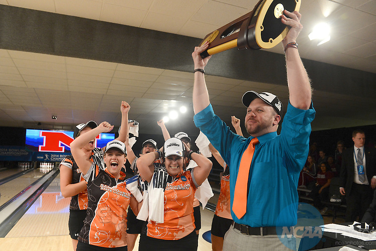 12 APR 2014: Coach Brad Hagen of Sam Houston State University celebrates after winning the Division I Women's Bowling Championship held at Game of Wickliffe in Wickliffe, OH.  Sam Houston defeated Nebraska 4-2 for the national title.  Eric Mull/NCAA Photos