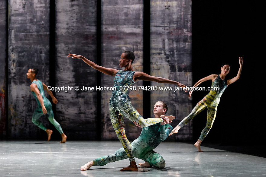 London, UK. 07.11.2019. Rambert presents RAMBERT EVENT, by Merce Cunningham, at Sadler's Wells. Choreography by Merce Cunningham, staging by Jeannie Steele, Music by Philip Selway, Quinta and Adem Ilhan, designs inspired by Gerhard Richter's 'Cage' series, performed by Rambert. The dancers are: Jacob Wye, Kym Sojourna, Alex Souillere, Soojin Choi. Photograph © Jane Hobson.