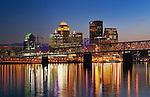 Louisville Skyline at dusk, Kentucky, USA.