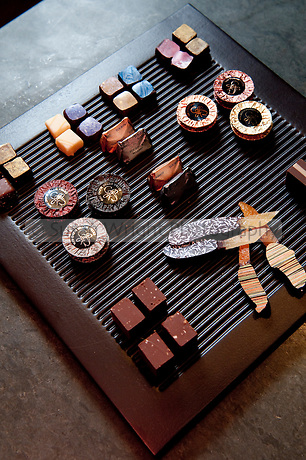 Assortment of hand crafted artisan chocolates, Guido Gobino, renowned Chocolatier of Turin, Italy