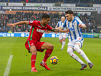 Huddersfield Town's Scott Malone takes on Swansea City's Kyle Naughton<br /> <br /> Photographer Alex Dodd/CameraSport<br /> <br /> The Premier League - Huddersfield Town v Swansea City - Saturday 10th March 2018 - John Smith's Stadium - Huddersfield<br /> <br /> World Copyright &copy; 2018 CameraSport. All rights reserved. 43 Linden Ave. Countesthorpe. Leicester. England. LE8 5PG - Tel: +44 (0) 116 277 4147 - admin@camerasport.com - www.camerasport.com