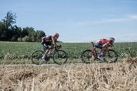 Early break away group with Nick Van Der Lijke (NED/Roompot) and Matthias Br&auml;ndle (AUT/Trek Segafredo)<br /> <br /> Binckbank Tour 2018 (UCI World Tour)<br /> Stage 6: Riemst (BE) - Sittard-Geleen (NL) 182,2km