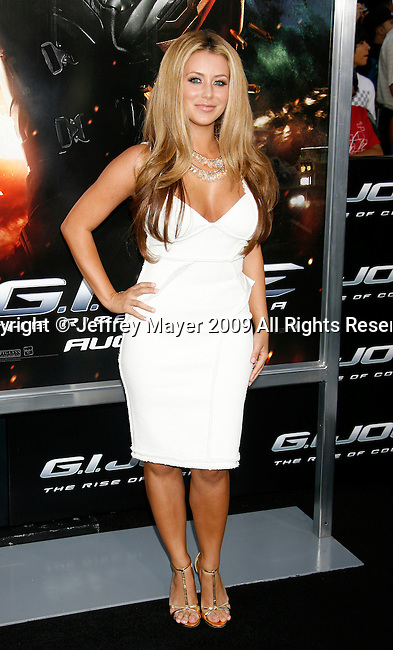 """HOLLYWOOD, CA. - August 06: Aubrey O'Day arrives at a special screening of """"G.I. Joe: The Rise Of The Cobra"""" on August 6, 2009 in Hollywood, California."""