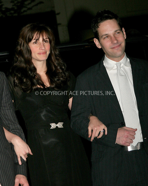 WWW.ACEPIXS.COM . . . . .  ....NEW YORK, APRIL 19, 2006....Julia Roberts and Paul Rudd at the 'Three Days of Rain' Opening Night After Party.....Please byline: NANCY RIVERA- ACEPIXS.COM.... *** ***..Ace Pictures, Inc:  ..Craig Ashby (212) 243-8787..e-mail: picturedesk@acepixs.com..web: http://www.acepixs.com