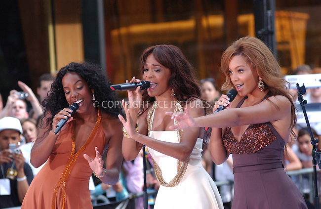 WWW.ACEPIXS.COM . . . . . ....NEW YORK, JULY 29, 2005 ....Beyonce Knowles, Michelle Williams and Kelly Rowland perform live on the NBC Today Show in Rockefeller Center in New York City. ....Please byline: KRISTIN CALLAHAN - ACE PICTURES.. . . . . . ..Ace Pictures, Inc:  ..Craig Ashby (212) 243-8787..e-mail: picturedesk@acepixs.com..web: http://www.acepixs.com