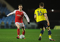 Fleetwood Town's Ashley Hunter under pressure from Oxford United's Rob Dickie<br /> <br /> Photographer Kevin Barnes/CameraSport<br /> <br /> The EFL Sky Bet League One - Oxford United v Fleetwood Town - Tuesday 10th April 2018 - Kassam Stadium - Oxford<br /> <br /> World Copyright &copy; 2018 CameraSport. All rights reserved. 43 Linden Ave. Countesthorpe. Leicester. England. LE8 5PG - Tel: +44 (0) 116 277 4147 - admin@camerasport.com - www.camerasport.com