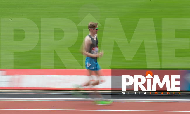 Tom Bosworth of GBR during  his World Record time of 5.31.08 in the Mens 1 Mile Walk during the Muller London Anniversary Games 2017 at the Queen Elizabeth Park, Olympic Park, London, England on 9 July 2017.  Photo by Andy Rowland.