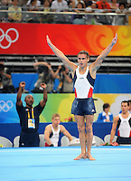 Aug. 9, 2008; Beijing, CHINA; Alexander Artemev (USA) performs on the floor exercise during mens gymnastics qualification during the Olympics at the National Indoor Stadium. Mandatory Credit: Mark J. Rebilas-