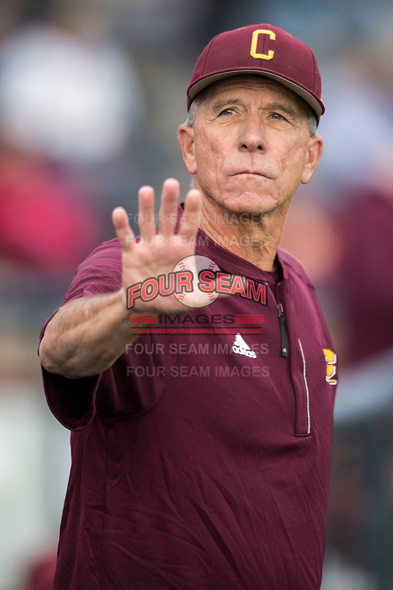 Central Michigan Chippewas head coach Steve Jaska (22) during the NCAA baseball game against the Michigan Wolverines on May 9, 2017 at Ray Fisher Stadium in Ann Arbor, Michigan. Michigan defeated Central Michigan 4-2. (Andrew Woolley/Four Seam Images)