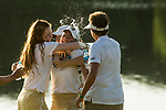 STILLWATER, OK - MAY 21: Emilia Migliaccio (left) of Wake Forest hugs her teammate Jennifer Kupcho after Kupcho won the Division I Women's Golf Individual Championship held at the Karsten Creek Golf Club on May 21, 2018 in Stillwater, Oklahoma. (Photo by Shane Bevel/NCAA Photos via Getty Images)