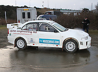 Brian Ross - Robert MacDonald in a Mitsubishi Lancer Evolution 5 at the Noise Test which took place at the Tulloch Stadium, Inverness for the 2014 Arnold Clark/Thistle Hotel Snowman Rally supported by Highland Office Equipment, part of the Capital Document Solutions which was organised by Highland Car Club and based in Inverness on 22.2.14; Round 1 of the 2014 RAC MSA Scottish Rally Championship sponsored by ARR Craib Transport Limited.