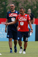 Maurizio Sarri Francesco Calzona <br /> ritiro precampionato Napoli Calcio a  Dimaro 13<br /> Luglio 2015<br /> <br /> Preseason summer training of Italy soccer team  SSC Napoli  in Dimaro Italy July 13, 2015