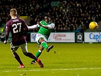 3rd March 2020; Easter Road, Edinburgh, Scotland; Scottish Premiership Football, Hibernian versus Heart of Midlothian; Stephane Omeonga of Hibernian takes a shot at goal